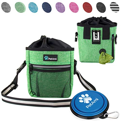 PetAmi Dog Treat Pouch | Dog Training Pouch Bag with Waist Shoulder Strap, Poop Bag Dispenser and Collapsible Bowl | Treat Training Bag for Treats, Kibbles, Pet Toys | 3 Ways to Wear (Green)