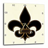3dRose LLC Large Black and Gold Fleur De Lis Christian Saints Symbol 10 by 10-Inch Wall Clock