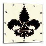 3dRose dpp_22360_2 Large Black and Gold Fleur De Lis Christian Saints Symbol-Wall Clock, 13 by 13-Inch
