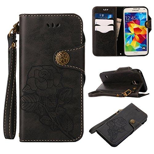 MEIRISHUN Leather Wallet Case Cover Carcasa Funda con Ranura de Tarjeta Cierre Magnético y función de soporte para Samsung Galaxy S5 - Caqui Negro