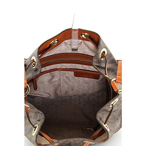 222ef0f8a2 MICHAEL Michael Kors Large MK Monogram Jules Drawstring Shoulder Bag in Signature  Brown
