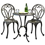 Best-selling Evan Cast Aluminum 3-Piece Bistro Set, Dark Gold