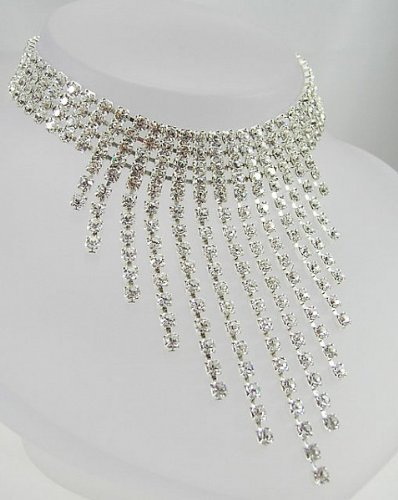 LJ Designs Crystal Graduated Drop Choker - Silver Plated - Made With Crystals From Swarovski by LJ Designs
