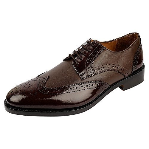 DLT Men's Genuine Imported Leather with Leather Sole Goodyear Welted Oxford Dress Shoes 9 Bordo