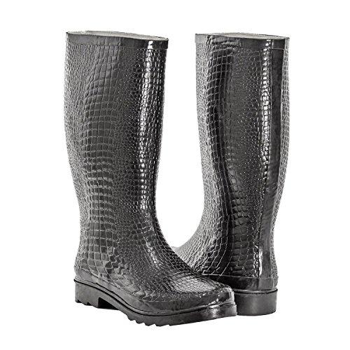 Forever Young Women Rubber Rain Boots, Safari Designs, Black Croco, 6