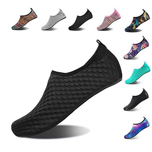NINGMENG Aqua Socks Beach Water Shoes Barefoot Yoga Socks Quick-Dry Surf Swim Shoes for Women Men (YH.Black, 38/39EU) by NINGMENG