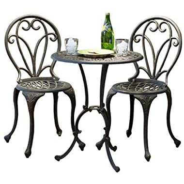 Best Selling Evan Cast Aluminum 3-Piece Bistro Set, Dark Gold