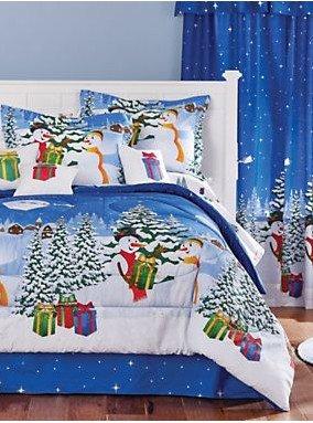 Snowman Wax (Christmas Themed Frosty The Snowman Queen Size Comforter Set (8 Piece Bed In A Bag) + HOMEMADE WAX MELT)