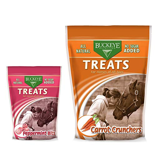 (Mars Horsecare Us In., Buckeye All-Natural No Sugar Added Peppermint Bits Treats for Horses, 1 Pound 37724 Sugar Free Carrot Crunchers, 4 lbs)
