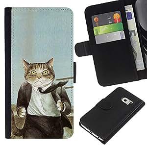 Samsung Galaxy S6 EDGE SM-G925 , la tarjeta de Crédito Slots PU Funda de cuero Monedero caso cubierta de piel ( Cat Suit Businessman Art Drawing Painting)