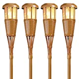 Newhouse Lighting FLTORCH4 Solar-Powered Flickering Flame Outdoor Island Torches, 4-Pack, Bamboo