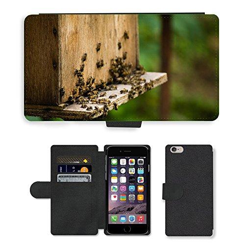 """Just Phone Cases PU Leather Flip Custodia Protettiva Case Cover per // M00129071 Abeilles Apiculture insectes Honey Bee // Apple iPhone 6 PLUS 5.5"""""""