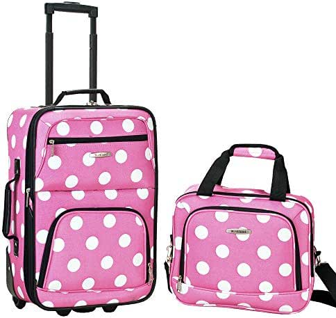 Rockland Luggage 2 Piece Printed Luggage Set, Pink Dot, Medium