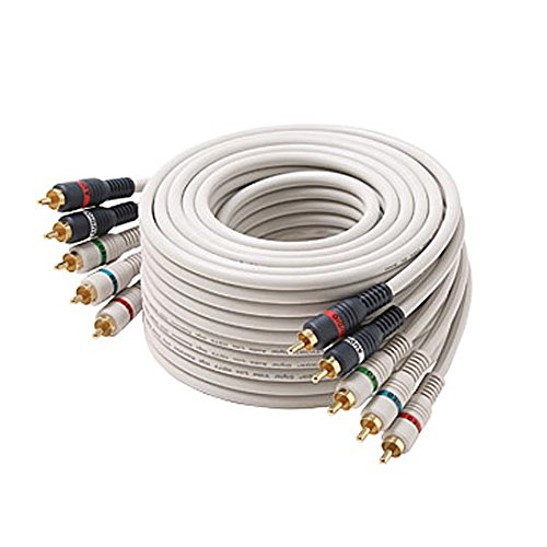 12' FT 5 RCA Component Cable Video Audio Gold Plate Python Double Shielded Home Theater Ivory Stereo 5-RCA Male Each End Color Coded 5- RCA A/V Cable Digital Signal Hook-Up Jumper by NAC Wire and Cables