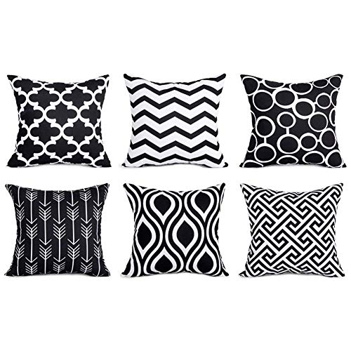 Pillow Cover Set Durable Canvas Outdoor Cushion Covers 16 X 16 for Couch Bedroom Car, Pack of 6, Black ()