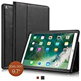 KAVAJ New iPad Case 2018/2017 Leather Cover Berlin for Apple iPad 6th & 5th Gen. Black Genuine Cowhide Leather with Built-in Stand Auto Wake/Sleep Function. Slim Fit Smart Folio Covers