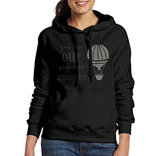 SmallTing WXF Womens You Are Our Greatest Adventure Classic Sports Black Hoody M
