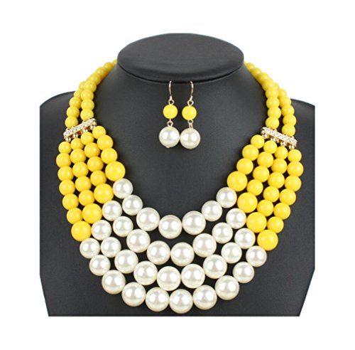 Beads Fashion Jewelry (Lanue Women Fashion Jewelry Set Pearl Bead Cluster Collar Bib Choker Necklace and Earrings Suit (Yellow))