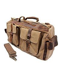 S-ZONE Retro Canvas Leather Duffel Weekend Tote Bag Travel Luggage Overnight Bag (Khaki)
