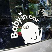 Car Sticker,OUBAO Baby In Car Waving Baby on Board Safety Sign Car Decal (White)