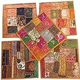 Set Of 5 Indian Cushion Covers Vintage Peach Patchwork Decorative Pillow Cover Bohemian Decor 16 x 16