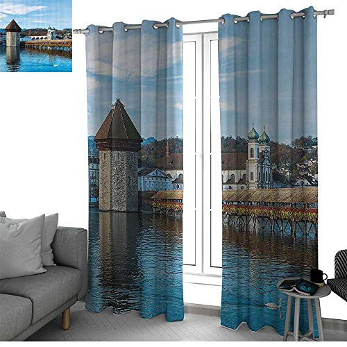 bybyhome Apartment Decor Darkening Noise Reducing Backtab Window Panel Panoramic View of Oak Chapel Bridge in Northern Lands Lake European Aged City Print Curtain Panels Blue Brown W120 x L84 Inch