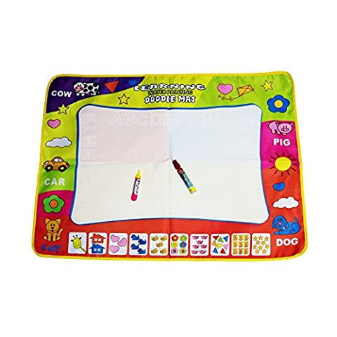 Water Drawing Mat,Sanmersen Large Doodle Mat Water Painting Writing Board Toy with 2 Types of Magic Pen for Baby Kids - Expanded Percussion