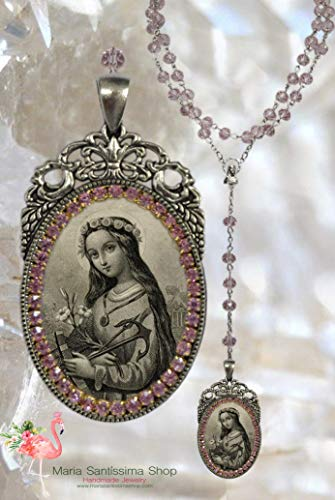 St. Philomena: Patron Saint of Babies, Infants, and Youth - Handmade Catholic Christian Religious Jewelry Medal Pendant (Rosary St Philomena)
