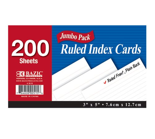 BAZIC 200 Ct. 3'' X 5'' Ruled White Index Card (Case of 36) (515-36) by Bazic