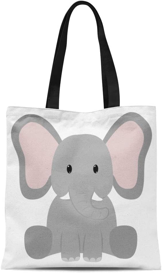 Semtomn Cotton Canvas Tote Bag Bike of Children Animals and Vintage Silhouettes Child Love Reusable Shoulder Grocery Shopping Bags Handbag Printed