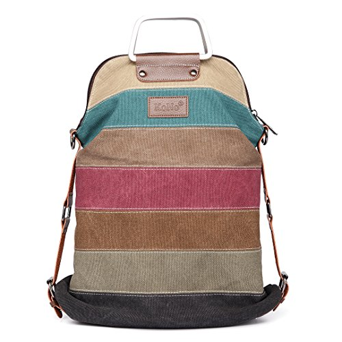 Kono Women Canvas Rainbow Multi-Color Striped Hobo Handbag Cross Body Messenger Shoulder Bag Satchel (1711) (Konos Kitchen)