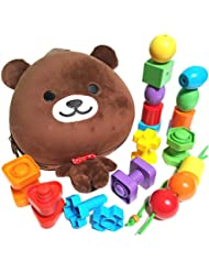 Beginner Baby Backpack Set with Toddler Lacing & Stringing Beads Jumbo Nuts & Bolts Matching & Sorting Early Learning...
