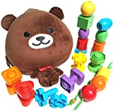 Beginner Baby Backpack Set with Toddler Lacing & Stringing Beads Jumbo Nuts & Bolts Matching & Sorting Early Learning Busy Bag Educational Toy Montessori Fine Motor Skills Occupational Therapy Toys