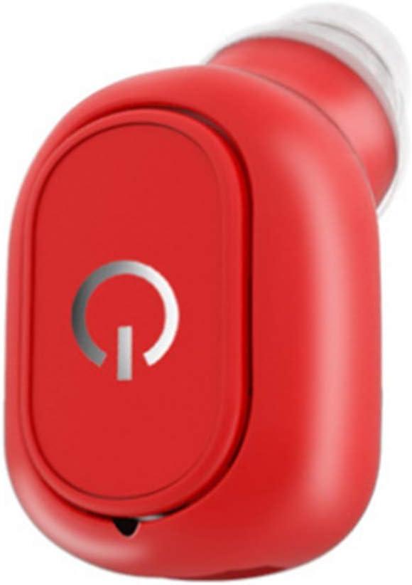 Wsaman True Draadloze Bluetooth Hoofdtelefoon, HD Stereo Headsets Sweatproof Oordopjes in Oor Rijden Oortelefoon Geluidsreductie voor Running/Gym/Reizen/Muziek/Sport Rood