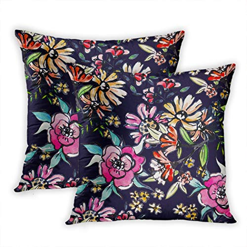 Sgvsdg Set of 2 Throw Pillow Cover Floral Botanical Good Printing Fabric Wrapping Paper Wallpaper Raster 20 X 20 Inch Square Hidden Zipper Home Cushion Decorative Pillowcase