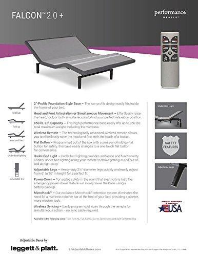 Adjustables by Leggett & Platt Falcon Adjustable Bed Base, Split King, (Split Base)