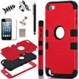 iPod Touch 5 Case, - SQdeal 6in1 Pack 3 Layer Hard and Soft Hybrid Armor Defender Sports Combo Case for Apple iPod Touch 5 iTouch 5th Generation, with Screen Protector, Touch Pen, Earphone, Fish winder and Dust Plug (Red/Black)