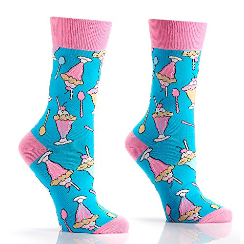 Yo Sox Sundae Funday Funky Women's Crew Socks for Dress or Casual Wear Size 5-10 ()