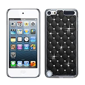 Snap on Cover Fits Apple iPod Touch 5 (5th Generation) Black Silver Plating Luxurious Lattice Alloy Elite Dazzling Back with Diamonds (Please carefully check your device model to order the correct version.)