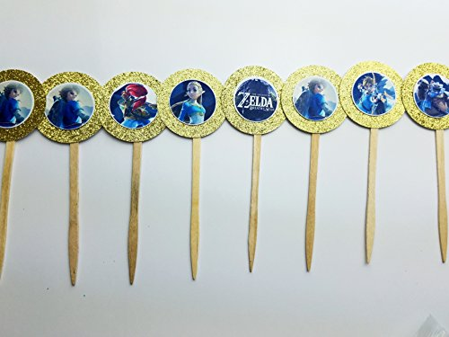 Price comparison product image 8 Gold Zelda Cupcake Toppers Breath of the Wild Party Supplies Girl Boy Video Game Birthday Party Gamer Gaming Retro