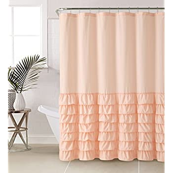 Amazoncom VCNY Melanie Ruffle Shower Curtain Light Pink Home - Pale pink shower curtain