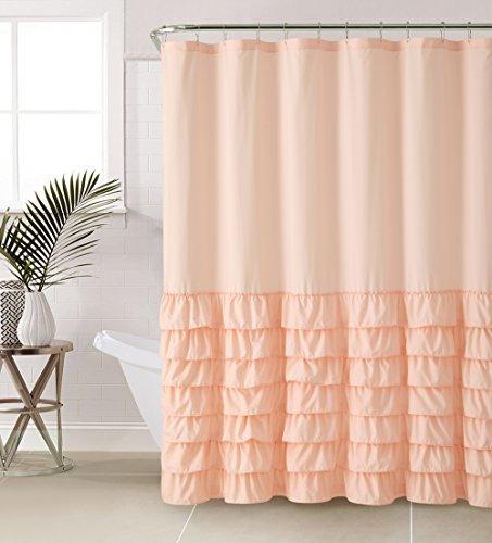 VCNY Melanie Ruffle Shower Curtain, Light Pink - Ruffle Light