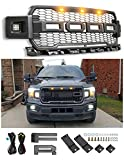 Fits For 2018-2019 Ford F-150 Raptor Style Front Grille Matte Black W F&R with 3 LED Light (With Side LED)