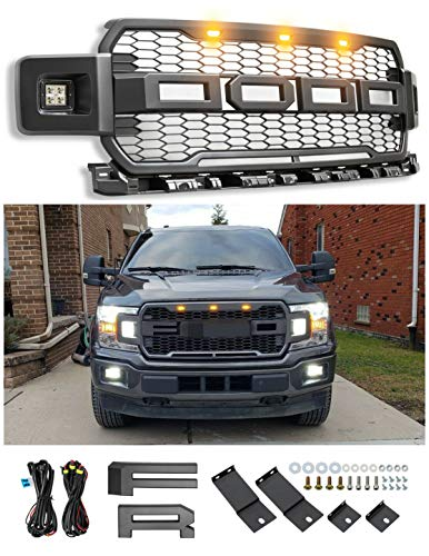 Front Grille Fits For 2018-2019 FORD F150 F-150 Raptor Style Grill Matte Black W/F&R with 3 Amber LED Lights (With Side LED)