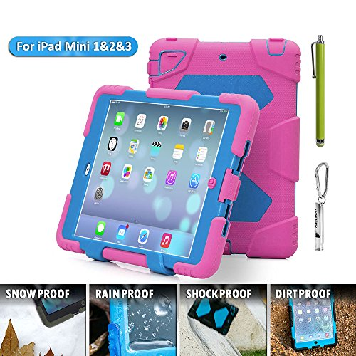 Aceguarder global design new products iPad mini 1&2&3 case snowproof waterproof dirtproof shockproof cover case with stand Super protection for kids Outdoor adventure sports tourism Gifts Outdoor Carabiner + whistle + handwritten touch pen (ACEGUARDER