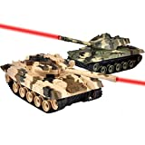 Cdgyot RC Battling Tanks Realistic Tank Forces RC Toys -Set of 2 27MHZ /40MHZ Infrared Remote Control Battle Tanks with Lights and Sounds / Rotating Turret and Recoil Action When Cannon Artillery Shoots