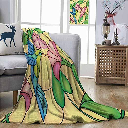 Degrees of Comfort Weighted Blanket Hummingbird Stained Glass Style Bird and Hibiscus Tropical Flora and Fauna Illustration Lightweight Thermal Blankets W54 xL84 Multicolor