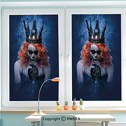 RWNFA No Glue Static Cling Glass Sticker Queen of Death Scary Body Art Halloween Evil Face Bizarre Make Up Zombie Decorative,22.8