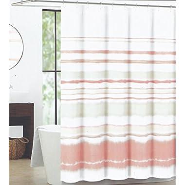 Max Studio Home Fabric Shower Curtain (Watercolor Stripe Ombre Peach Tan)