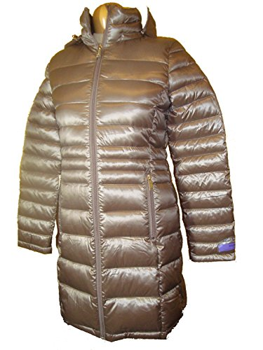 Andrew Marc Womens Hooded Featherweight Long Packable Down Jacket (Taupe, XS)
